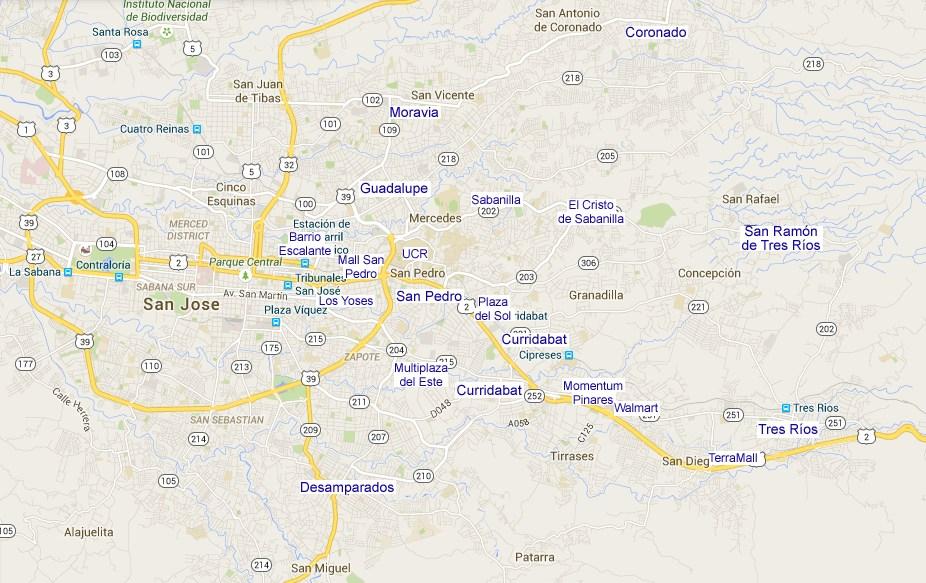 Map of Curridabat, San Pedro, Tres Rios
